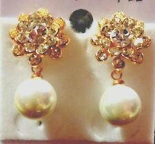 Gold Filled  CZ  Flower with Pearl Drop Earrings,