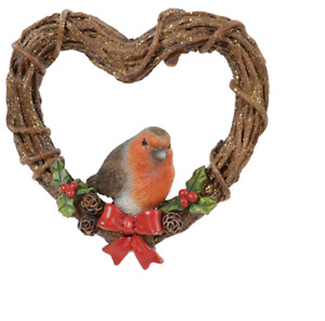Vivid Arts - Hanging Christmas Robin Rattan Heart Wreath- Decoration 8cm High