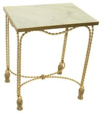 Bronze Gold Iron Swag Tassel Foot Accent Table Ornate Metal Stane