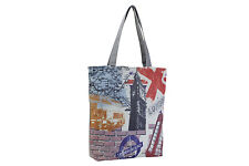 London Big Ben England Shopper Beach Gym Tote Bag Handbag Purse Shoulder Gray