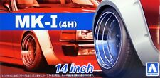"Aoshima 1/24 MK-I (4H) 14"" Wheel Rims & Tire Set For Plastic Models 5387 (54)"