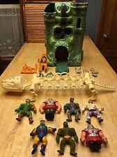 Lot of 7 Vintage He-Man Figures + Castle Greyskull, Battle Bones, & More (AS-IS)