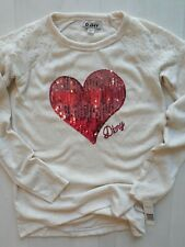 DKNY Girls Shirt L (14-16) Oatmeal W/ Pink Sequin Heart & Lace Accents NWT!