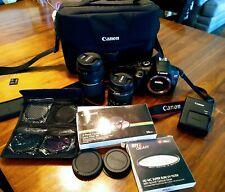 Canon EOS Rebel T6 EF-S 18-55mm & 75-300mm SLR Camera - Black