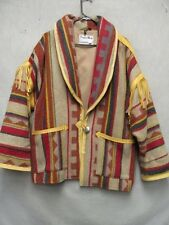 W3742 Pioneer Wear Red/Blu/Yellow Striped Southwestern w/Leather Jacket Women XL