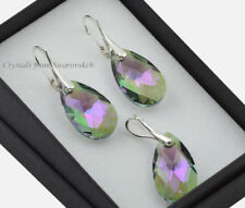 925 Silver Earrings/Set 22mm PEAR Paradise Shine Crystals from Swarovski®