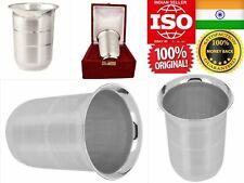 Pure Silver 100% Chandi Glass Tumbler Cup Mug 75G Drink Water Milk God Adult Kid