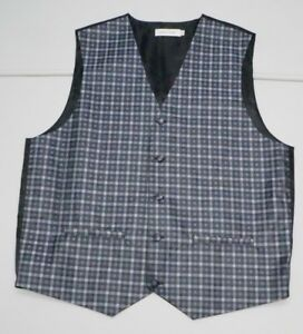 Pierre Cardin Mens M Purple Black Bartender Suit Vest NWOTs