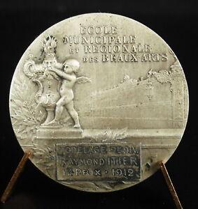 Médaille argent allégorie de la ville de Nancy Beaux-arts à Raymond Itier 1912