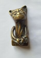 Brass Door Knocker Cat Animal Old Used Vintage Furniture Classic