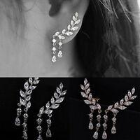 Moda mujer oro plata cristal circón hojas borla oreja aretes joyería
