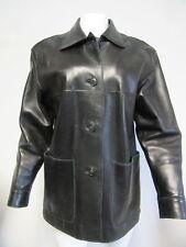 ELLEN TRACEY black genuine leather button front jacket sz Medium