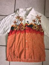 RIP CURL Hawaiian Button Down By Rip Curl Palm Trees FLORAL Size Small Med?