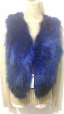 Nuevo diseño 100% Real Negro Chaleco de piel de zorro azul
