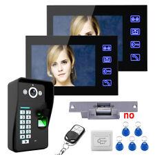 "7"" Fingerprint Recognition Video Door Phone Intercom System+Electric Strike Lock"