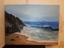 Oil painting on canvas hand painted (Abersoch beach in winter, N. Wales)