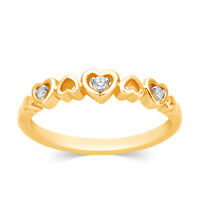 Solid 10k Yellow Gold Diamond Heart Promise Wedding Band Womens Ring NEW