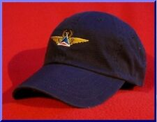 Delta Air Lines (retired logo)Captain's Pilot Wings ball cap (blue/red) BLUE hat