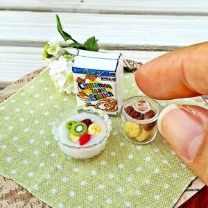 Dollhouse Miniatures Food Breakfast Cereal Cookies Box Set Mini Tiny Supply Deco