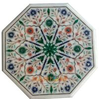 "12"" White Marble Coffee Table Malachite Lapis Floral Top Inlay Garden Decor W350"
