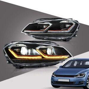Phares LED pour VW Golf 7 MK7 VII TDI 2013-2019 feux avant avec séquentiel
