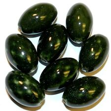 CPC331 Dark Green & White Diamond Check 25x16mm Tapered Oval Porcelain Bead 8/pk