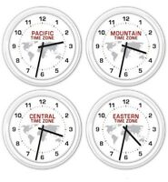 4 pk - Time Zones SILENT Wall Clock - World Globe Office Business Home Central