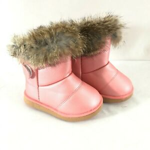Toddler Girls Winter Boots Faux Fur Lined Faux Leather Pink Size 22 US 6