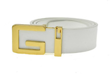 Classic Leather Vintage Belt Gucci Pattern Big Metal Buckle Men Gift 110cm White