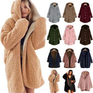 Women's Hooded Fluffy Fur Teddy Bear Coat Fleece Jacket Thick Hoodies Jumper UK