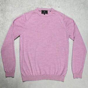 Mens M&S Lightweight 100% Merino Wool Jumper Size LARGE Crew neck Pullover Pink