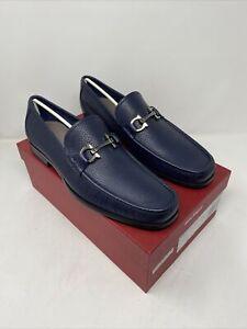 Salvatore Ferragamo Grandioso Navy Size 12 E Gancini Bit Leather Loafers
