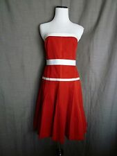 Auth. Dolce & Gabbana Gorgeous Red & White Pleated Back Zip Strapless Dress- 40