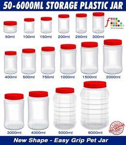 PLASTIC STORAGE JARS SCREW TOP LIDS PET JAR SPICES FOOD CONTAINERS CLEAR POTS