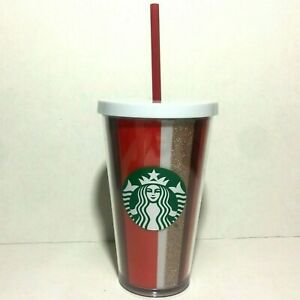 Starbucks 2018 Holiday Striped Tumbler Cup with Lid Straw Red Glitter 16 Oz.