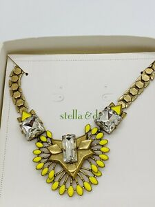 Stella & Dot Statement Deco Chunky Necklace Yellow Antiqued Gold Chunky Box