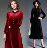 Women Velvet Stand Collar Long Sleeves Dress Slim Fit Ball Gown Big Hemline
