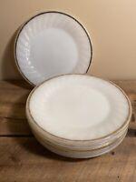 "Anchor Hocking Milk Glass Dessert Plates 7 w/Gold Rim Scalloped Edge Swirl 7.5"""