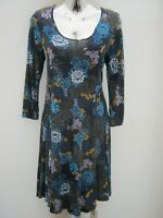 Marks & Spencer Indigo 3/4 Sleeve Floral Pattern Knee Length Dress Size 12