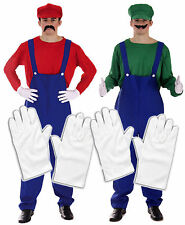 Mario and Luigi Bros 80s Fancy Dress Plumber Workman Outfit with 2 x Gloves