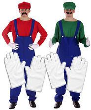 Mario Y Luigi Bros 80s Fancy Dress fontanero Workman Equipo Con 2 X Guantes