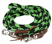 Showman LIME 8' Braided Nylon Barrel Reins W/ Scissor Snap Ends! HORSE TACK!
