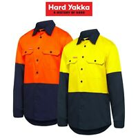 Mens Hard Yakka Core Hi-Vis Vented Cotton Twill Work Long Sleeve Shirt Y07950