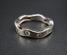 Modern Wavy 14K White Gold Diamond Ring Anniversary Band Size 6 RG947