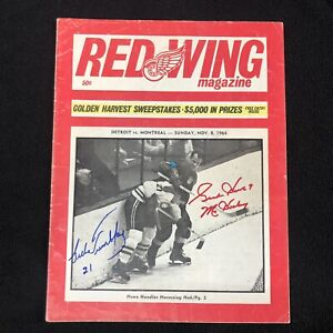 1964 Detroit Red Wings Program VS Montreal Canadiens Signed by 37 Beckett COA