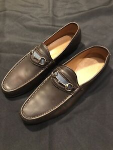 GUCCI MOCHA BROWN SLIP ON LOAFERS DRESS SHOES 47 US 14 GG GANCIO AUTHENTIC