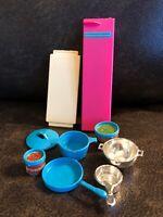 Vintage 1984 Barbie Dream Kitchen Accessories Mattel Blue/Silver Pots-door-parts