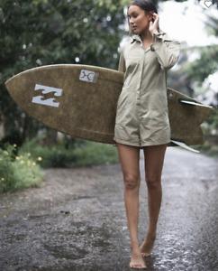 Billabong BNWT Gigi Twill Playsuit Long Sleeve Women's Size 12 Green