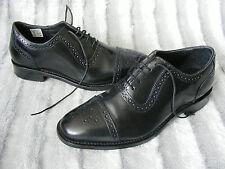 Mens Black Leather Lace Up Samuel Windsor Brouge Shoes UK 8.5 1/2 EU 42.5 US 9