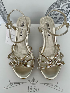 NEW GIRLS GOLD FORMAL SANDALS 2.5 INCH HEEL DIAMANTE DETAIL DRESS SHOES SIZE 2-3